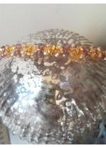 Дизайнерска диадема с кристали Сваровски в златно и опушено светло лила серия Mademoiselle Coco by Rosie