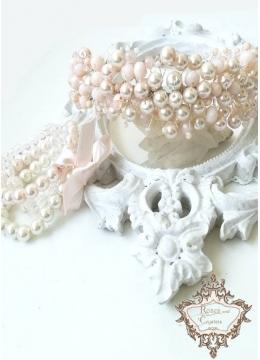 Комплект дизайнерска диадема и гривни в цвят розова пудра Iced Rose by Rosie