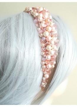 Дизайнерска диадема за коса с кристали и перли Сваровски в розово Pink Crystals and Pearls by Rosie