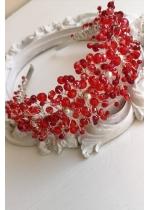 Дизайнерска диадема за официална прическа с червени кристали Сваровски Red Queen by Rosie