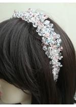 Дизайнерска диадема за коса с кристали Сваровски в бяло и розово Rose Kiss
