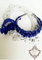 Комплект дизайнерска диадема и гривни с перли и кристали Сваровски модел Royal Blue Rose by Rosie