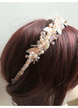 Луксозна дизайнерска диадема с кристали и перли за сватба и бал в цвят розово злато модел Rose Gold Shine by Rosie
