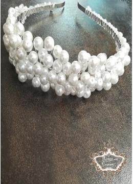Булчинска дизайнерска  диадема с перли и кристали Perfect White