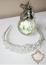 Дизайнерска Диадема за булка с кристали и перли White Bride