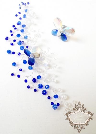 Дизайнерски комплект гривна и пръстен от Сваровски кристали цвят тъмно синьо и бяло серия Crystal Butterfly Blue by Rosie
