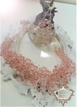 Нежен дизайнерски комплект колие и обици от розови перли Сваровски Rose Crystal Garden by Rosie