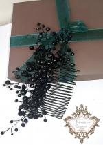 Елегантен Гребен - украса за коса с черни перли и кристали Absolute Black Flower