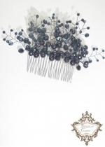 Дизайнерски гребен - украса за коса с черни перли и кристали Black Flowers
