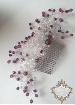 Красив кристален гребен- украса за коса за бал и парти в лилаво и бяло Crystal Flower in Purple