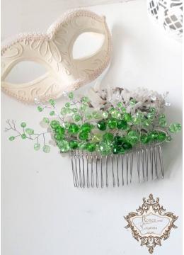 Дизайнерска украса за коса на гребен с зелени кристали Green Flowers