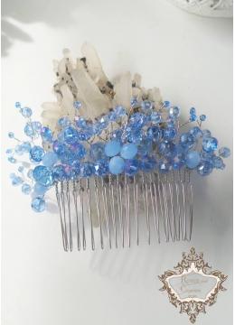 Дизайнерски аксесоар за коса на гребен със сини кристали Heavenly Flowers