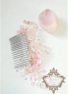 Гребен с розови кристали - украса за коса Japanese Garden