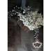 Дизайнерски гребен- украса за коса с бели и зелени кристали и перли Lilly of the Valley Flowers