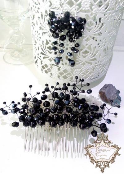 Кристален гребен за официална прическа и обици с черни кристали Black Flowers by Rosie