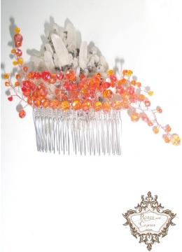 Дизайнерски гребен- украса за коса с оранжеви кристали Orange Flowers