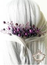 Дизайнерски гребен украса за коса в тъмно лилаво Purple dreams by Rosie