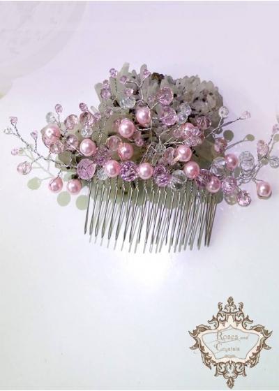 Дизайнерски гребен- украса за коса с розови перли и кристали Rose Flowers