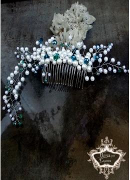Абитуриентска кристална украса за коса в бяло и тъмен тюркоаз - Sea Flowers
