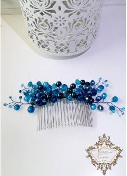 Дизайнерски аксесоар за коса на гребен с кристали и перли в тюркоазено - Turquoise Flowers