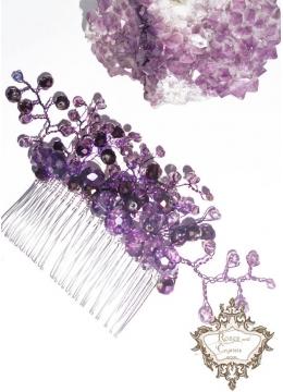 Дизайнерска украса за коса на гребен с лилави перли и кристали Violet Flowers