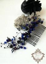 Кристален гребен за коса в черно и кралско синьо Midnight Flowers by Rosie Concept