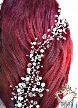 Дизайнерска украса за коса с кристали- розово и бяло Rose Garden Hair Vine -long