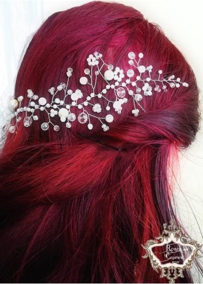Кристална украса за коса розово и бяло- Rose Garden - къса