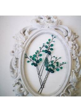 Комплект кристални дизайнерски фуркети за украса на прическа Green Garden by Rosie