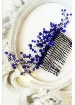Кристален гребен - украса за коса в кралско синьо модел Blue Clematis by Rosie