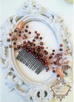 Гребен - украса за коса в цвят мед и розово злато Caramel Kiss
