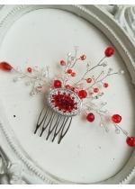 Дизайнерски кристален гребен украса за коса в червено и бяло модел Crystals and shine Red by Rosie