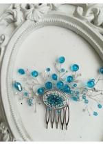 Дизайнерски кристален гребен украса за коса в тюркоаз и бяло модел Crystals and shine Turquoise by Rosie