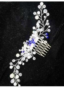 Дизайнерски булчински гребен за коса в бяло и кралско синьо модел Ever Blue