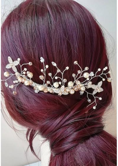 Гребен за украса на коса с кристали Сваровски в слонова кост и праскова Golden Flowers by Rosie Concept