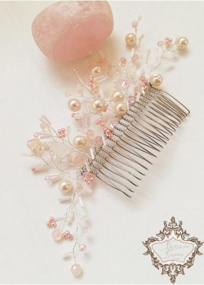 Кристален гребен- украса за коса в нежно розово Iced Rose by Rosie