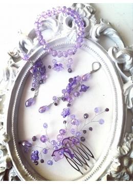 Дизайнерски комплект украса за коса, гривна и обици от кристали Сваровски серия Tender Verbena by Rosie