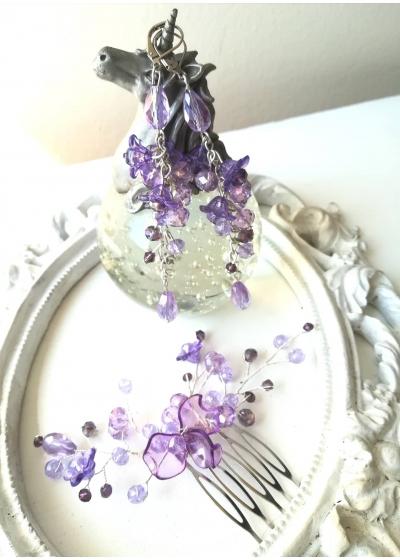 Гребен - аксесоар за коса комплект с кристални обици в люляково лилаво серия Tender Verbena by Rosie