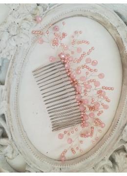 Дизайнерски Гребен украса за коса в розово модел Pink Nerine by Rosie