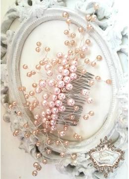 Гребен- украса за коса с розови перли Rose Blush Pearls