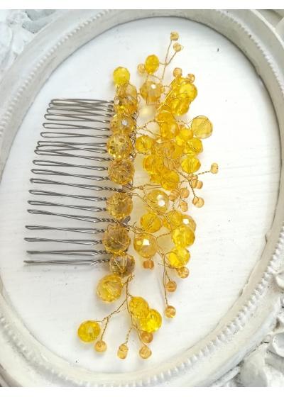 Дизайнерски гребен - украса за коса с жълти кристали Sun Flowers