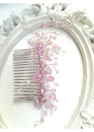 Гребен украса за официална прическа с кристали Сваровски в светло лилаво Tender Violets by Rosie