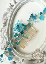Елегантен Гребен - украса за официална прическа с кристали в цвят Тюркоаз Turquoise Spell by Rosie