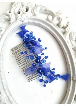 Кристален гребен украса за официална прическа с кристали Сваровски в синьо модел A little piece of Heaven by Rosie