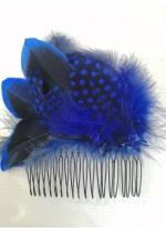 Уникално гребенче - украса за коса с пера в кралско синьо и черно Blue Bird of Paradise by Rosie