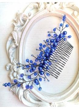 Дизайнерска украса за официална прическа с гребен с кристали Сваровски в кралско синьо модел Blue Garden by Rosie