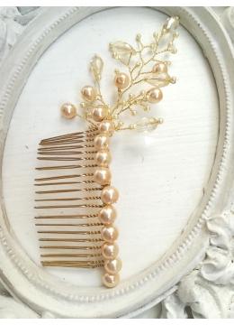 Дизайнерски гребен украса за коса с кристали Сваровски в цвят шампанско модел Champagne and Sparks by Rosie