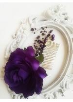 Оригинален кристален гребен в тъмно лилаво с ръчно изработена роза Dark Passion Rose by Rosie