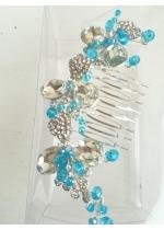 Гребен украса за коса с кристали Сваровски в цвят тюркоаз Flowers of the Sea by Rosie