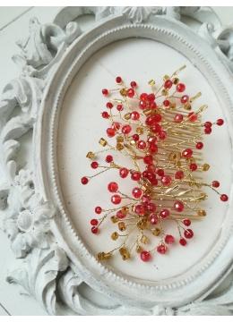 Кристален гребен - украса за коса от колекция Hermitage by Rosie модел Gold Fire